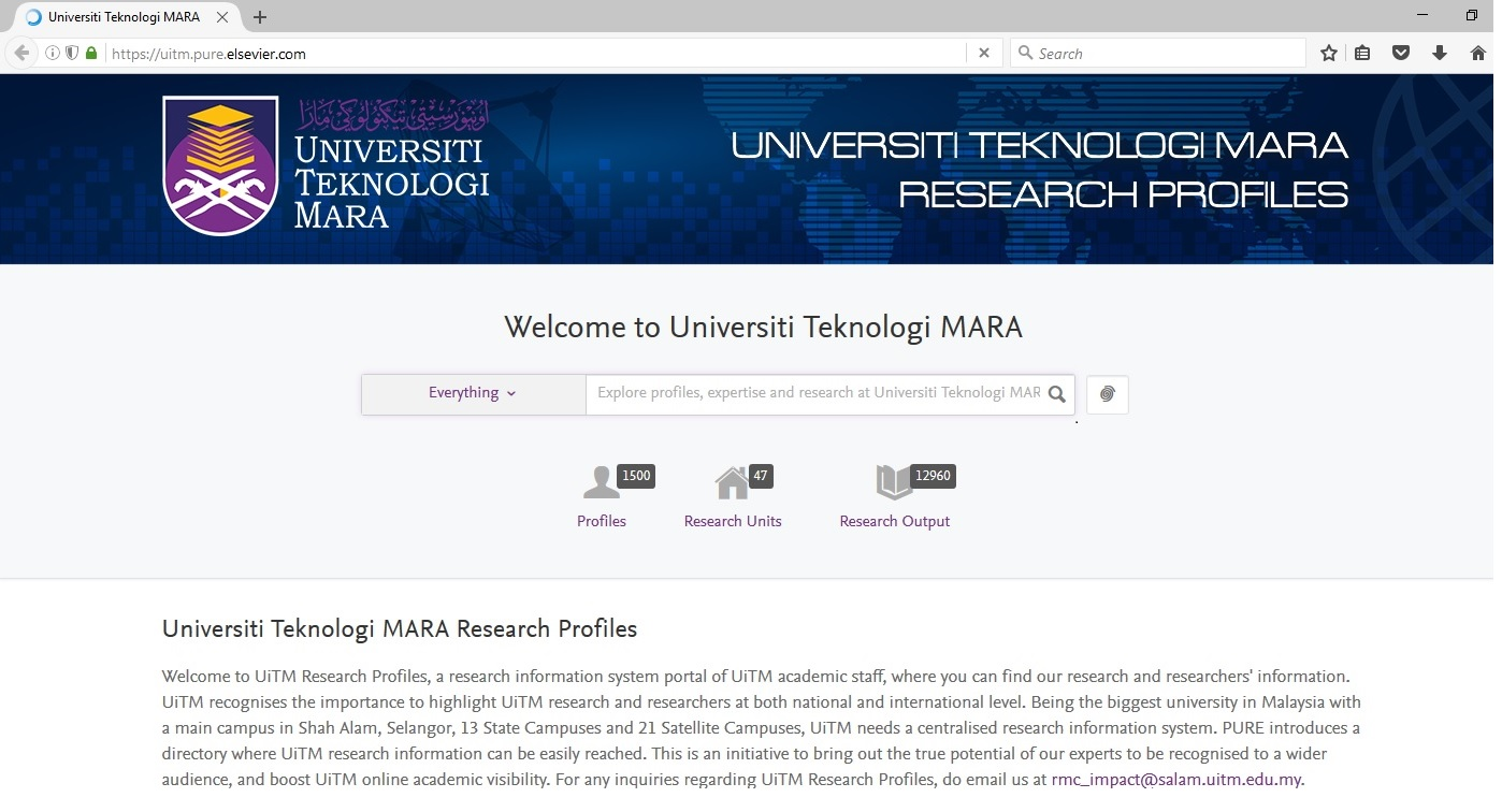 PURE UiTM Research Profile